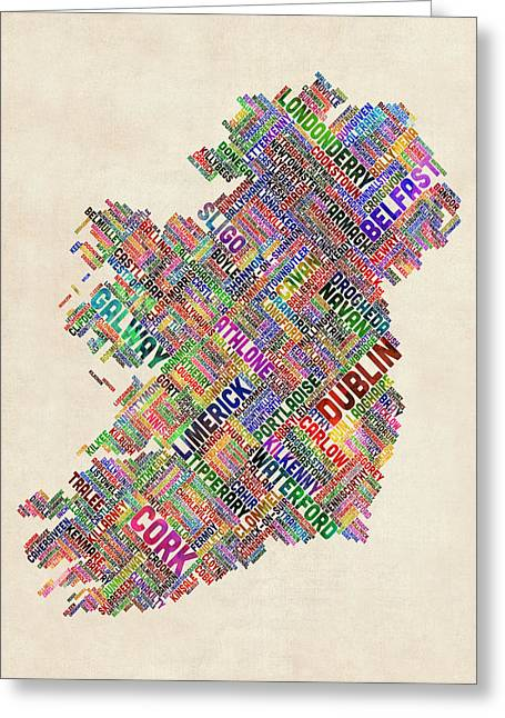 Cartography Greeting Cards - Ireland Eire City Text Map Greeting Card by Michael Tompsett