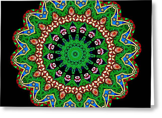 Flame Greeting Cards - Kaleidoscope Stained Glass Window Series Greeting Card by Amy Cicconi