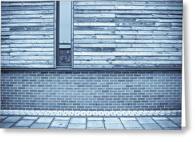Industrial Background Greeting Cards - Modern building Greeting Card by Tom Gowanlock
