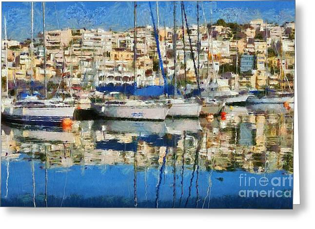 European Greeting Cards - Reflections in Mikrolimano port Greeting Card by George Atsametakis