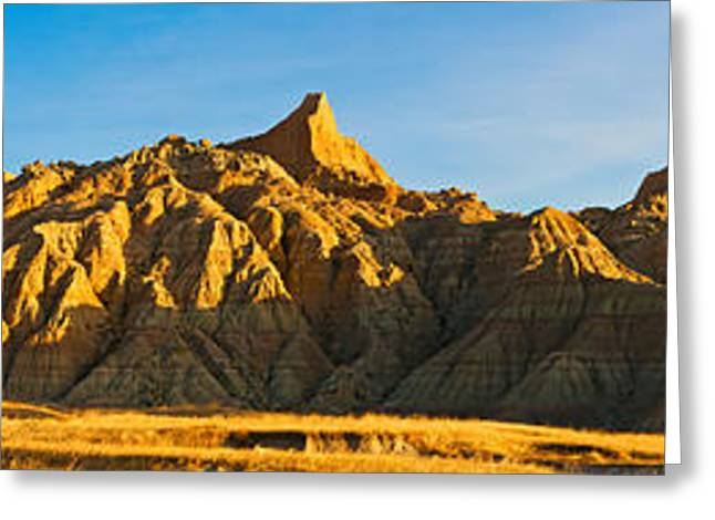 Badlands National Park Greeting Cards - Rock Formations On A Landscape Greeting Card by Panoramic Images