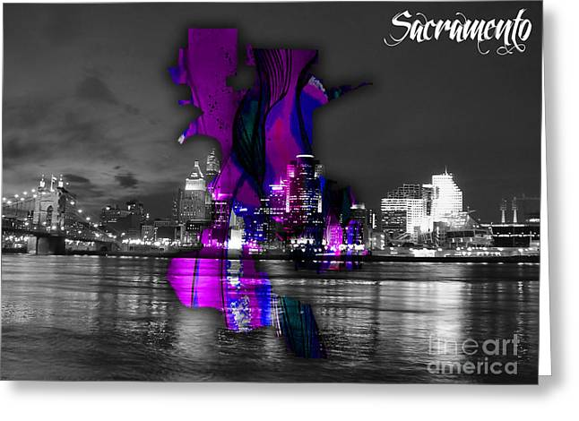 Sacramento Map And Skyline Watercolor Greeting Card by Marvin Blaine