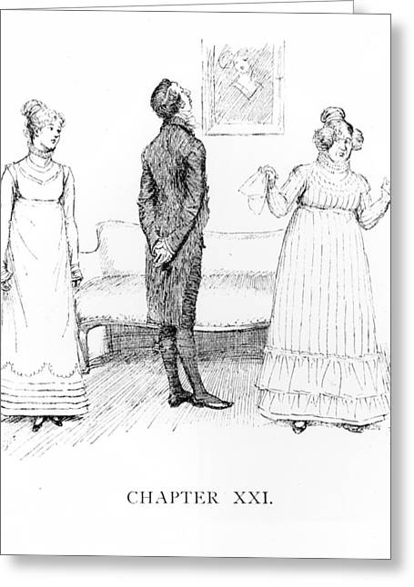 Prejudice Greeting Cards - Scene from Pride and Prejudice by Jane Austen Greeting Card by Hugh Thomson