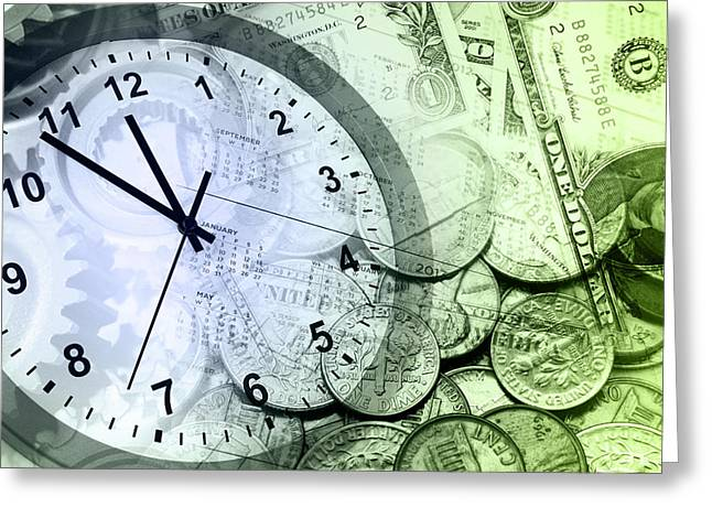 Urgency Greeting Cards - Time is money  Greeting Card by Les Cunliffe