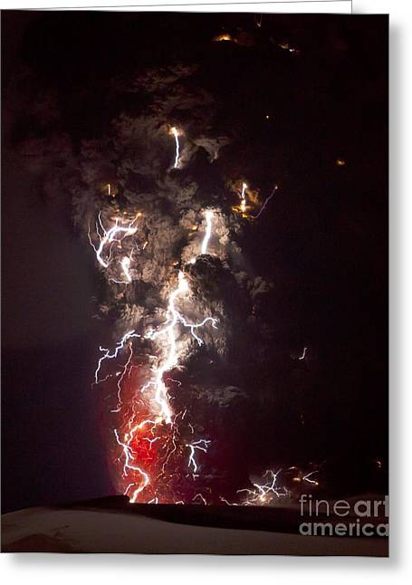 Recently Sold -  - 18th Century Greeting Cards - Volcanic Lightning, Iceland, April 2010 Greeting Card by Olivier Vandeginste