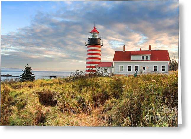 West Quoddy Greeting Cards - West Quoddy Head Lighthouse Greeting Card by Jack Schultz