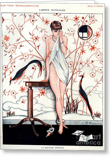Crying Drawings Greeting Cards - 1920s France La Vie Parisienne Magazine Greeting Card by The Advertising Archives