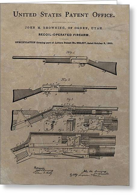 Marksman Greeting Cards - 1900 Firearm Patent  Greeting Card by Dan Sproul