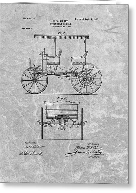 Driving Drawings Greeting Cards - 1900 First Automobile Patent Greeting Card by Dan Sproul