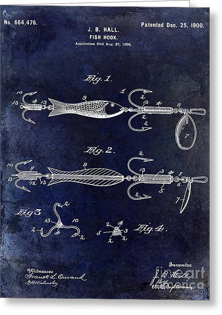Fishing House Greeting Cards - 1900 Fishing Hook Patent Drawing Blue Greeting Card by Jon Neidert