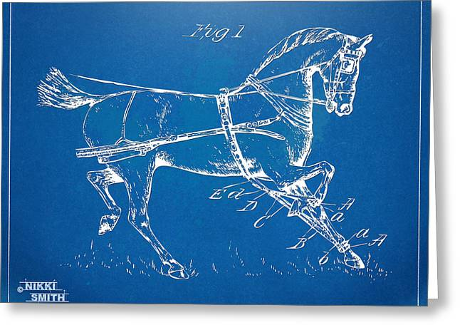 18th Century Greeting Cards - 1900 Horse Hobble Patent Artwork Greeting Card by Nikki Smith