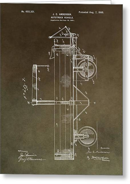 Mechanics Mixed Media Greeting Cards - 1900 Truck Patent Greeting Card by Dan Sproul
