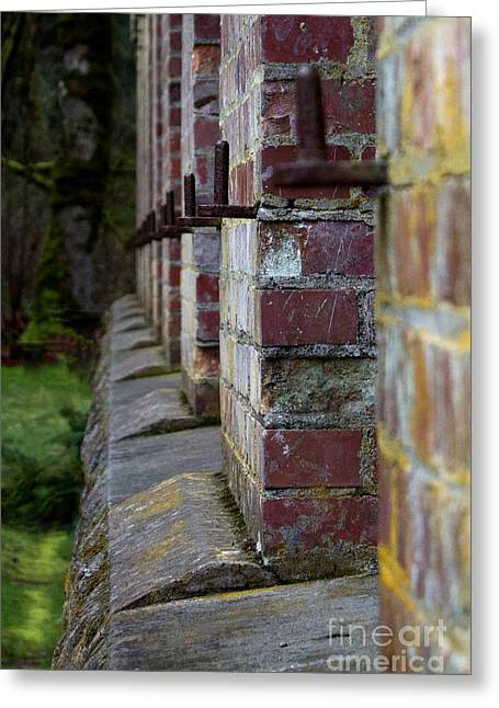 Burned Clay Greeting Cards - 1900s Brick Wall Greeting Card by Deanna Proffitt