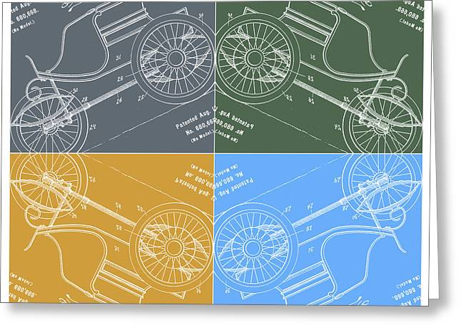 1901 Greeting Cards - 1901 Automobile Vehicle Patent Pop Art Osborn 1 Greeting Card by Nishanth Gopinathan