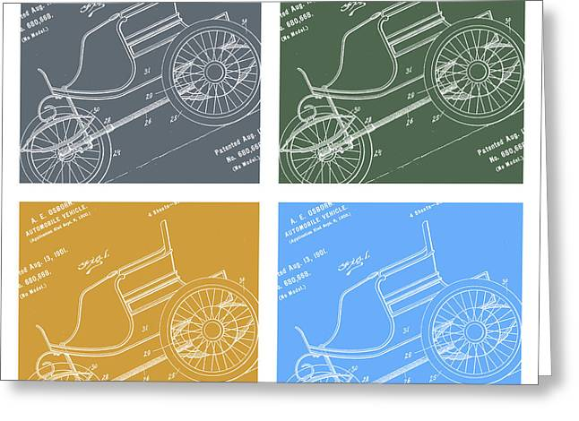 1901 Greeting Cards - 1901 Automobile Vehicle Patent Pop Art Osborn 3 Greeting Card by Nishanth Gopinathan