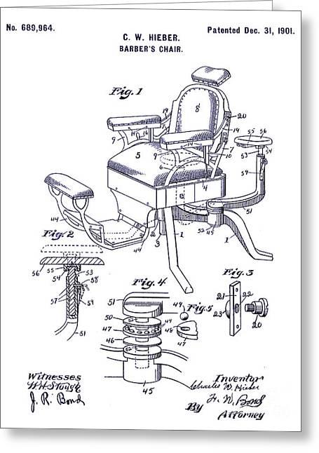 Barbers Greeting Cards - 1901 Barber Chair Patent Blueprint Greeting Card by Jon Neidert
