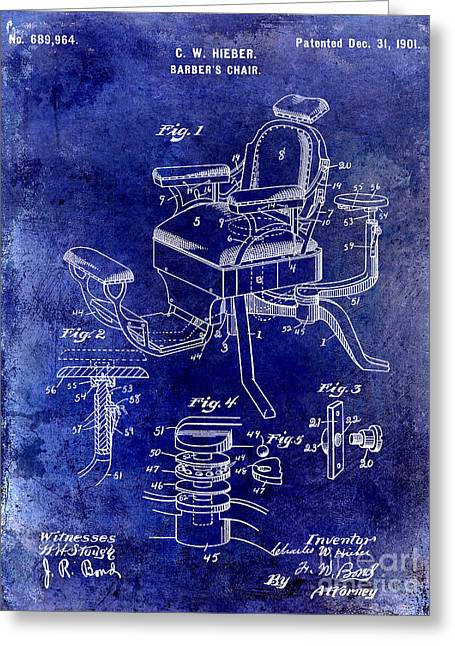 Barber Chair Greeting Cards - 1901 Barber Chair Patent Drawing Blue Greeting Card by Jon Neidert