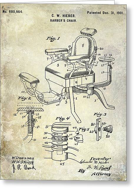 Chairs Drawings Greeting Cards - 1901 Barber Chair Patent Drawing  Greeting Card by Jon Neidert