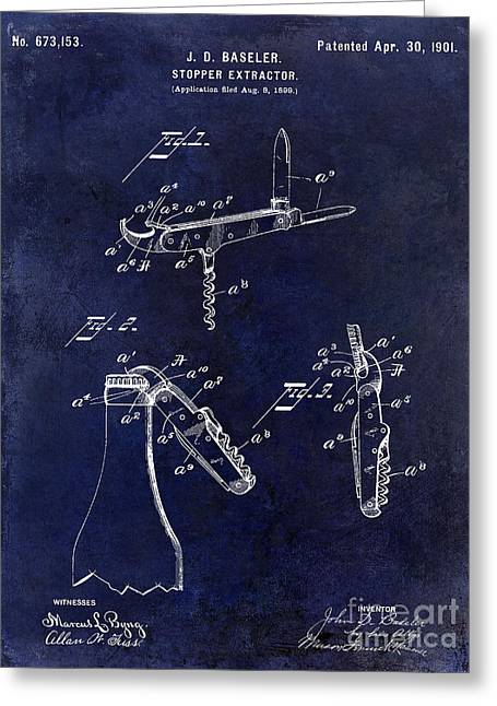 Cigar Greeting Cards - 1901 Corkscrew Patent Drawing Blue Greeting Card by Jon Neidert