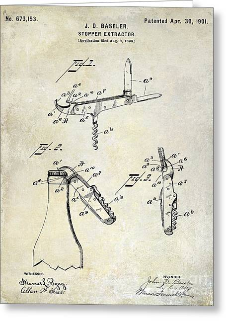 Merlot Greeting Cards - 1901 Corkscrew Patent Drawing Greeting Card by Jon Neidert