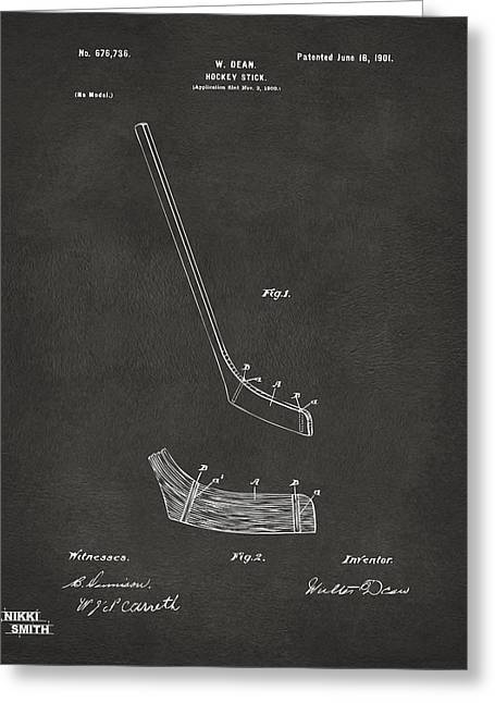 Player Digital Art Greeting Cards - 1901 Hockey Stick Patent Artwork - Gray Greeting Card by Nikki Marie Smith