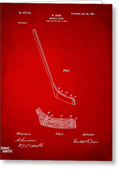 Hockey Guy Greeting Cards - 1901 Hockey Stick Patent Artwork - Red Greeting Card by Nikki Marie Smith