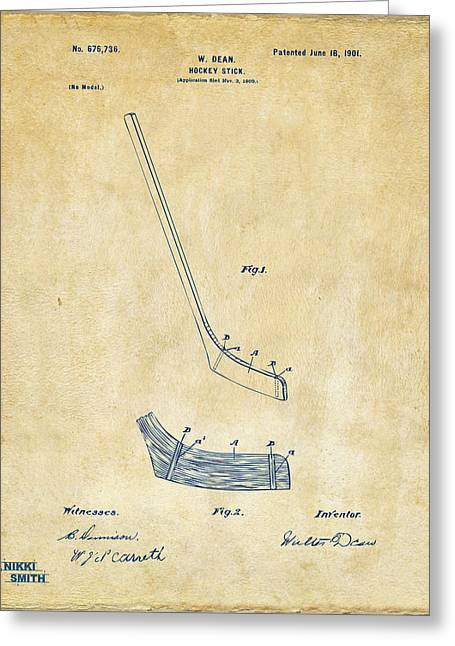 Hockey Guy Greeting Cards - 1901 Hockey Stick Patent Artwork - Vintage Greeting Card by Nikki Marie Smith