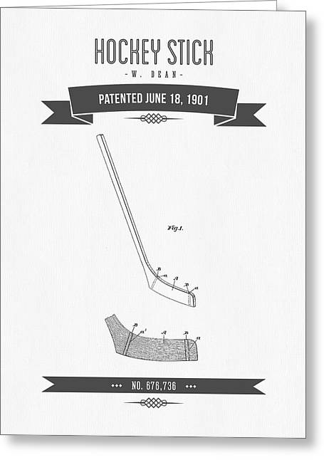 Hockey Player Greeting Cards - 1901 Hockey Stick Patent Drawing - Retro Gray Greeting Card by Aged Pixel