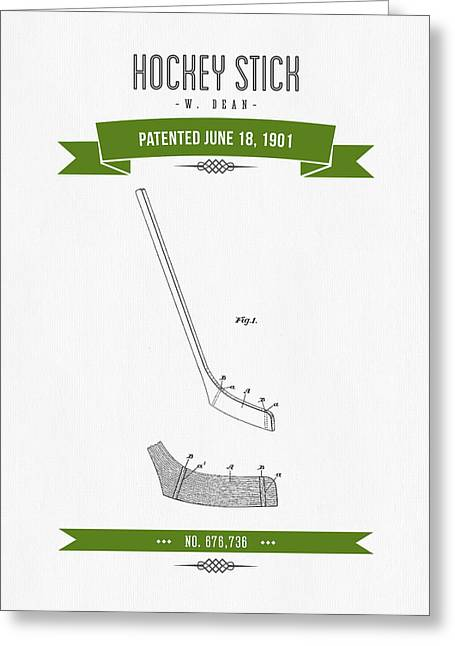 Hockey Player Greeting Cards - 1901 Hockey Stick Patent Drawing - Retro Green Greeting Card by Aged Pixel