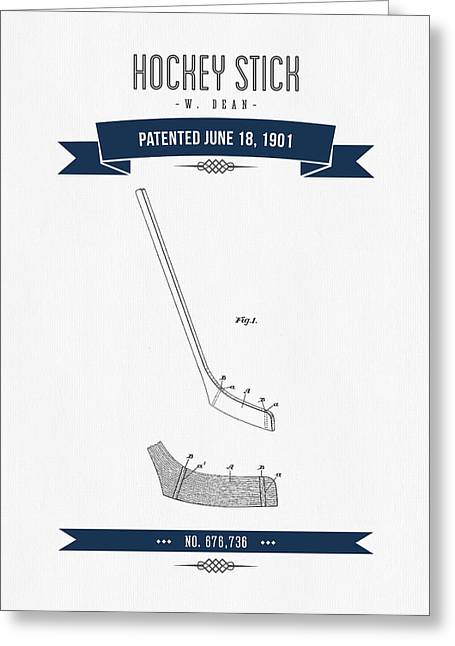 Hockey Player Greeting Cards - 1901 Hockey Stick Patent Drawing - Retro Navy Blue Greeting Card by Aged Pixel
