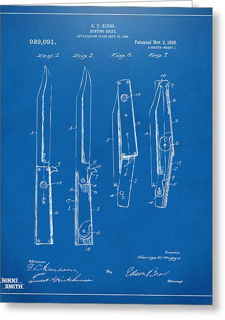 Switches Greeting Cards - 1901 Hunting Knife Patent Artwork - Blueprint Greeting Card by Nikki Marie Smith