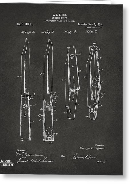 Switches Greeting Cards - 1901 Hunting Knife Patent Artwork - Gray Greeting Card by Nikki Marie Smith