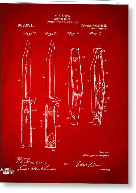 Switches Greeting Cards - 1901 Hunting Knife Patent Artwork - Red Greeting Card by Nikki Marie Smith