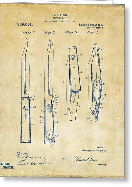 Switch Greeting Cards - 1901 Hunting Knife Patent Artwork - Vintage Greeting Card by Nikki Marie Smith