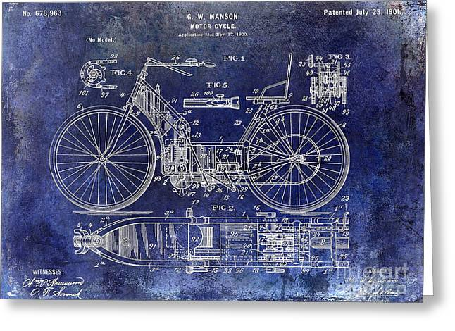 Honda Motorcycles Greeting Cards - 1901 Motorcycle Patent Drawing Blue Greeting Card by Jon Neidert