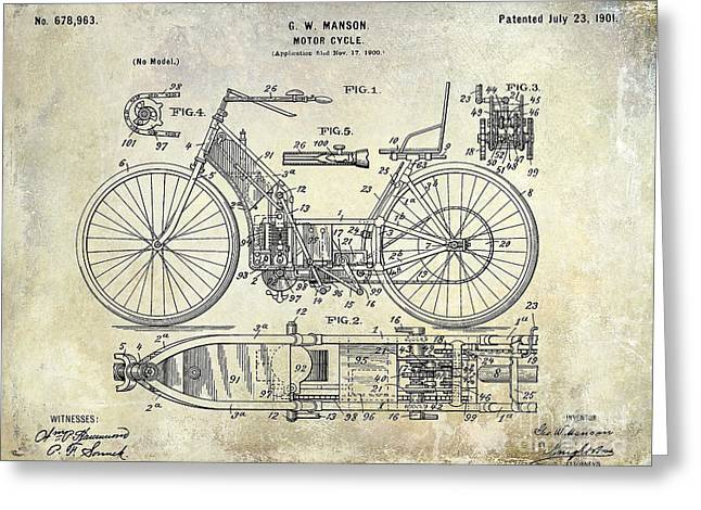 Honda Motorcycles Greeting Cards - 1901 Motorcycle Patent Drawing Greeting Card by Jon Neidert