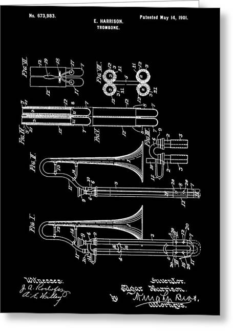 Noise . Sounds Mixed Media Greeting Cards - 1901 Trombone Patent Greeting Card by Dan Sproul