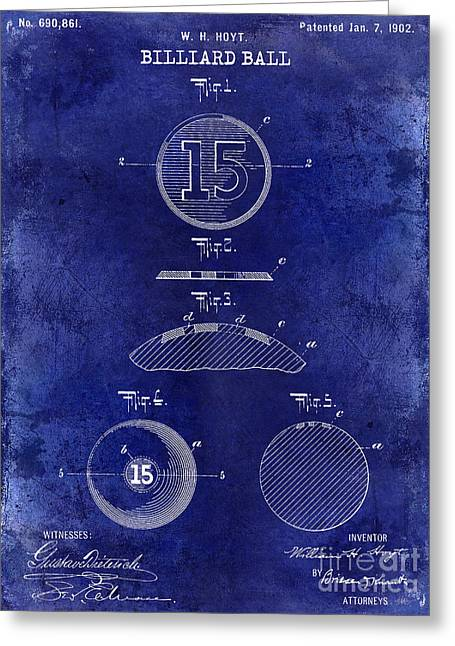 Mans Room Greeting Cards - 1902 Billiard Ball Patent Drawing Blue Greeting Card by Jon Neidert