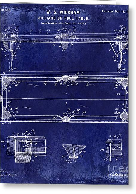 Billiard Greeting Cards - 1902 Billiard Table Patent Drawing Blue Greeting Card by Jon Neidert