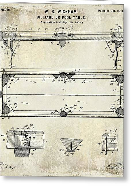 Mans Room Greeting Cards - 1902 Billiard Table Patent Drawing Greeting Card by Jon Neidert
