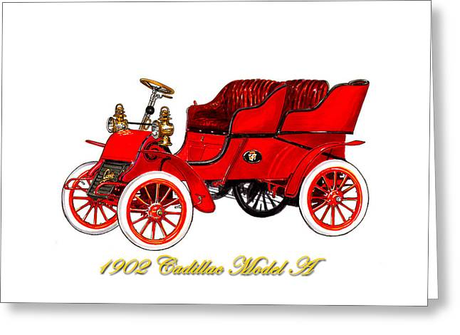 Reform Paintings Greeting Cards - 1902 Cadillac Model A Runabout Greeting Card by Jack Pumphrey