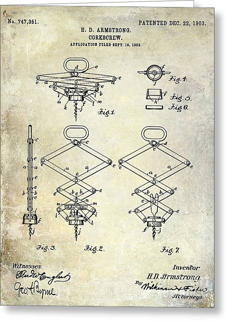 Napa Valley Vineyard Greeting Cards - 1902 Corkscrew Patent Greeting Card by Jon Neidert