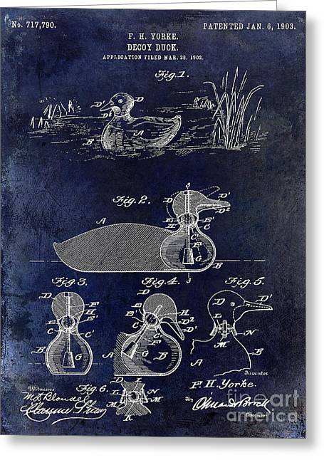 Duck Hunting Greeting Cards - 1902 Duck Decoy Patent Drawing Greeting Card by Jon Neidert