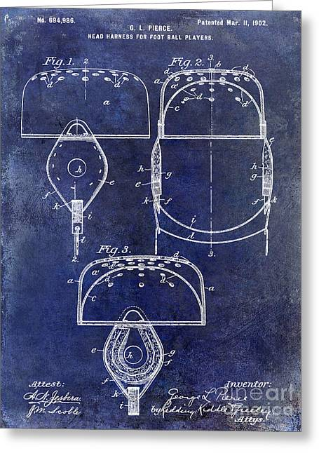 Fantasy Football Greeting Cards - 1902 Football Helmet Patent Drawing Blue Greeting Card by Jon Neidert