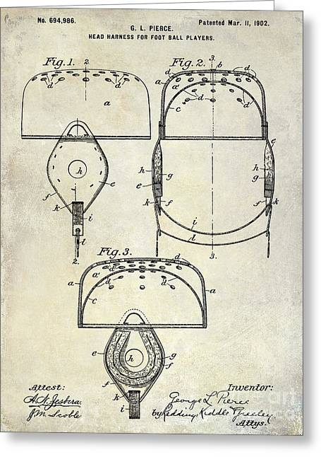 Fantasy Football Greeting Cards - 1902 Football Helmet Patent Drawing Greeting Card by Jon Neidert
