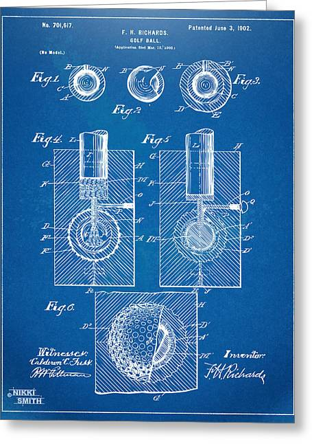 Hobby Digital Art Greeting Cards - 1902 Golf Ball Patent Artwork - Blueprint Greeting Card by Nikki Marie Smith