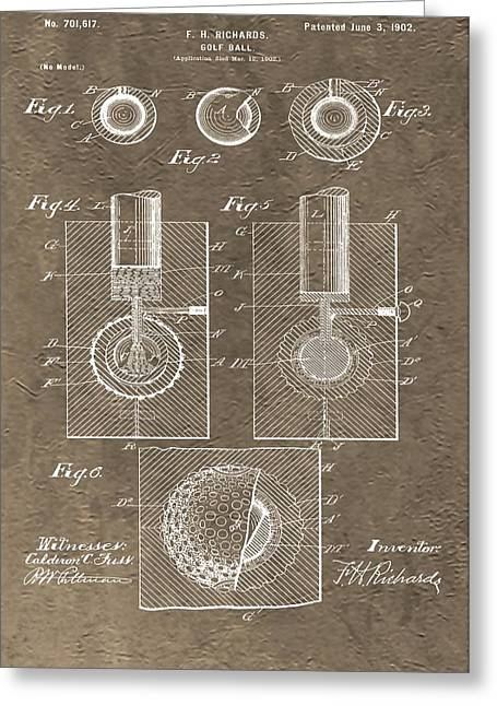 Professional Golf Greeting Cards - 1902 Golf Ball Patent Greeting Card by Dan Sproul