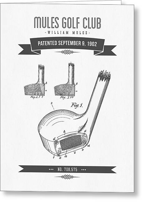 Recently Sold -  - Technical Greeting Cards - 1902 Mules Golf Club Patent Drawing - Retro Gray Greeting Card by Aged Pixel