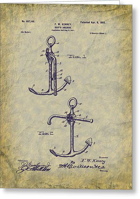 Historical Images Greeting Cards - 1902 Ships Anchor Patent Art Greeting Card by Barry Jones