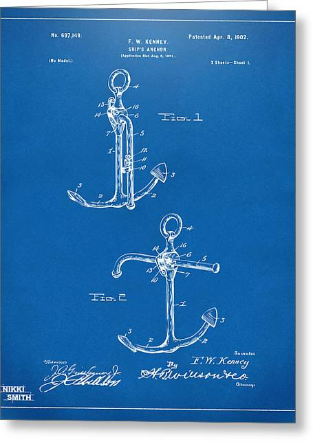 Blue Sailboat Greeting Cards - 1902 Ships Anchor Patent Artwork - Blueprint Greeting Card by Nikki Marie Smith